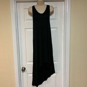 Asymmetrical black open back summer dress